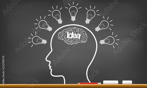 human brain icon silhouette head with multiple light bulb