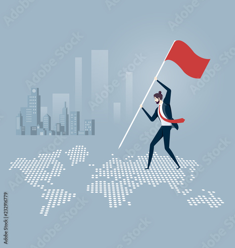 Fotografija  Businessman putting a flag and standing on top of a world map