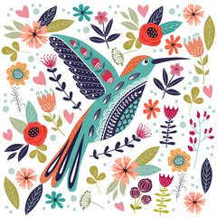 Fototapeta Na szklane drzwi i okna Art vector colorful illustration with beautiful abstract folk bird and flowers.