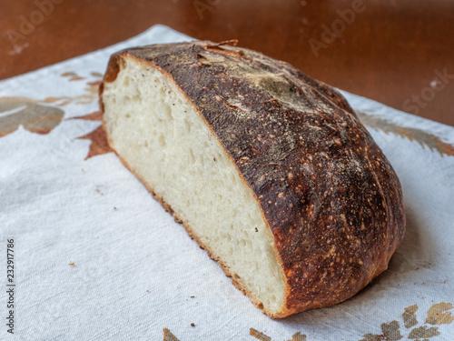 Freshly baked artisan bread with crispy crust