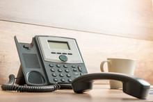 Black Landline Telephone With ...