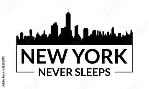 New York City graphic with city skyline Fototapet