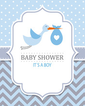 Baby Shower Card. Stork With B...