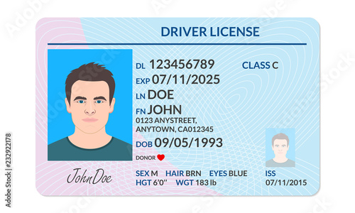 Driver License With Male Photo Identification Or Id Card Template