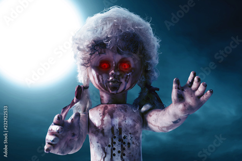 Photographie Scary bloody doll with red eyes