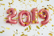 canvas print picture - Balloons 2019 confetti Christmas and new year celebration