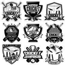 Set Of Nine Cricket Badge, Emblem Team Tournament Template, Vector