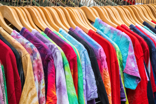 Photo Second-hand T-shirts on display at Broadway Market in Hackney, East London