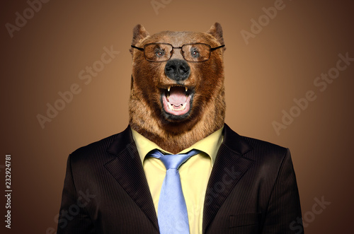 Portrait of a funny bear in a business suit
