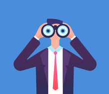 Man Looking Through Binoculars. We Are Hiring, Recruiting And Business Seeing Vector Concept. Businessman Through Binoculars, Looking In Binocular Illustration