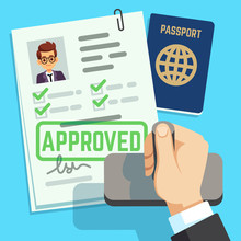 Visa Concept. Passport Or Visa Application. Travel Immigration Stamp Vector Illustration. Immigration Stamp To Travel And Business, Paper Approval