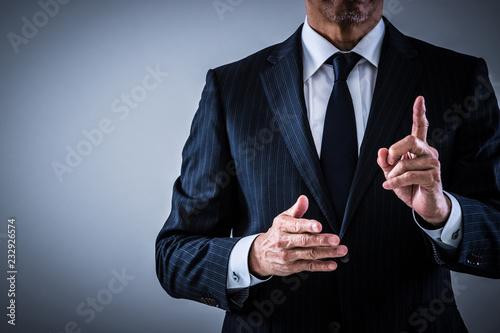 Obraz na plátne 指示するシニアビジネスマン