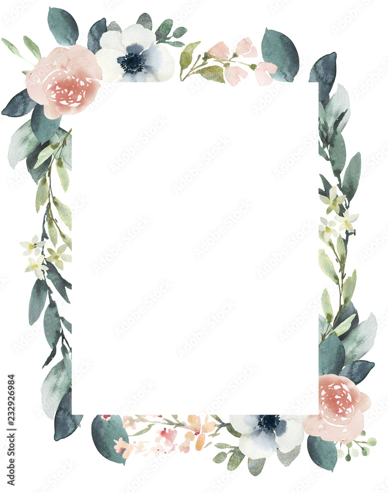 Fototapety, obrazy: Watercolor wedding floral frame composition with blush roses and eucalyptus