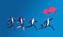 People Holding Flag And Running. Business Leader Leading Office Team. Leadership Vector Concept. Illustration Of Leader Man Business With Red Flag