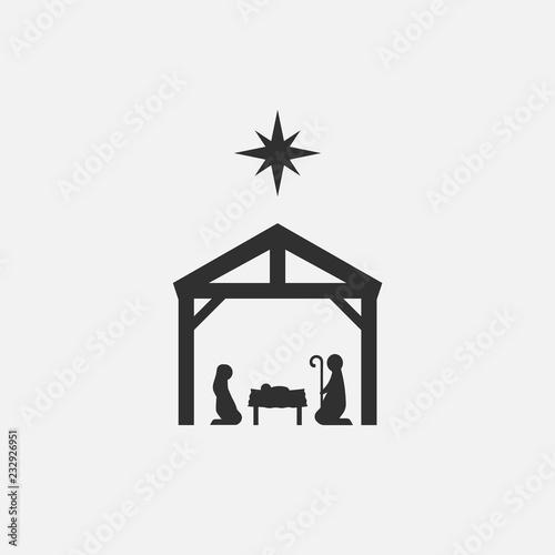 Birth of Christ, Silhouette of Mary, Joseph and Jesus isolated on white background Slika na platnu