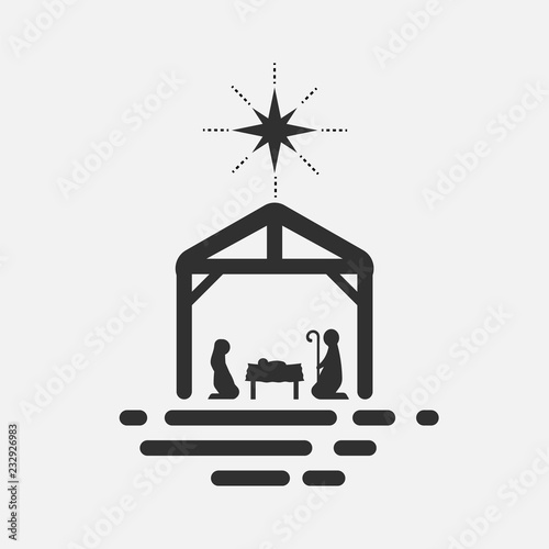 Obraz na plátně  Birth of Christ, Silhouette of Mary, Joseph and Jesus isolated on white background