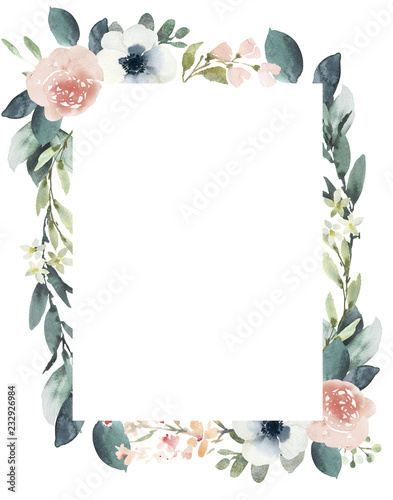 Vászonkép  Watercolor wedding floral frame composition with blush roses and eucalyptus