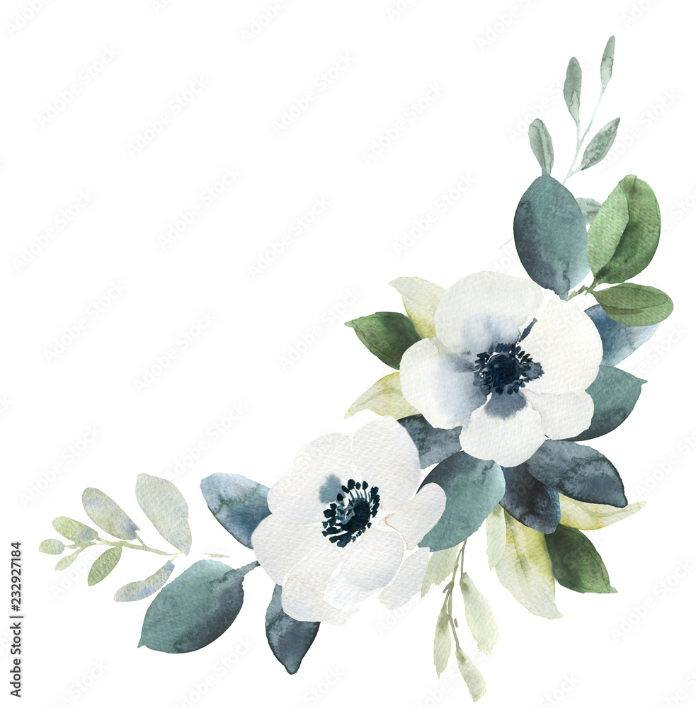 Fototapety, obrazy: Watercolor wedding floral bouquet composition with black and white hellebore and eucalyptus