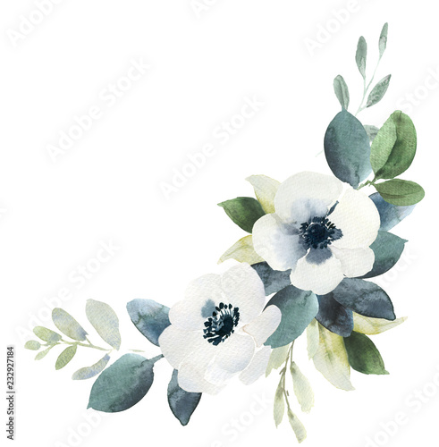 Watercolor wedding floral bouquet composition with black and white hellebore and eucalyptus Fototapete