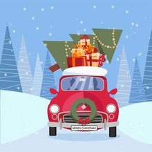 Flat Vector Cartoon Illustration Of Retro Car With Presents, Christmas Tree On Roof. Little Red Car Carrying Gift Boxes. Vehicle Is Located In Front, Decorated With Wreath. Winter Snowy Forest Around