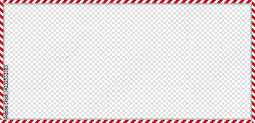 Fotografiet rectangle candy cane frame with red and white striped lollipop pattern on transparent background