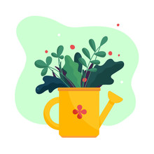 Garden Plants And Flowers In Yellow Watering Can. Outdoor Gardening Bouquet. Modern Abstract Simple Flat Art Style. Vector Illustration Isolated On White.
