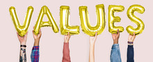 Hands Holding Values Word In Balloon Letters