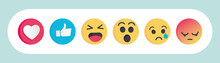Set Of Emoticon Social Media Reactions