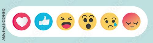 Платно Set of Emoticon social media reactions