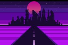 Retro City Landscape, Futuristic Background, Vector Illustration