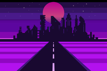 Retro city landscape, futuristic background, vector illustration
