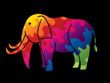 Elephant Cartoon Graphic Vector.