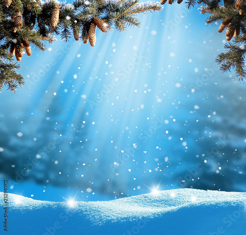 Keuken foto achterwand Blauwe jeans Beautiful winter landscape with snow covered trees.Christmas background