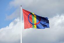 Traditionelle Nationalfahne Der Sami In Nordschweden