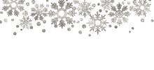 Silver Textured Snowflakes Border