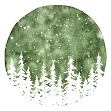 White Silhouettes Of Pine Trees In In Snow. Watercolor Christmas And New Year Illustration
