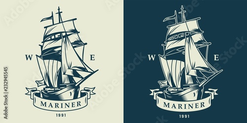 Vintage monochrome nautical and maritime logo