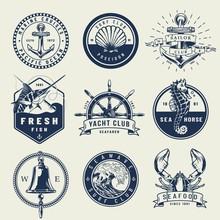 Vintage Monochrome Nautical Emblems