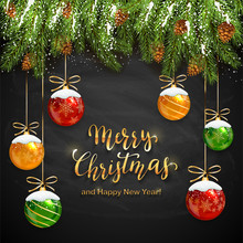 Christmas Lettering On Black Chalkboard Background With Balls And Snow