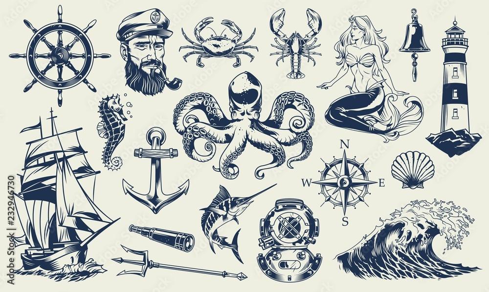 Fototapeta Vintage monochrome nautical elements set