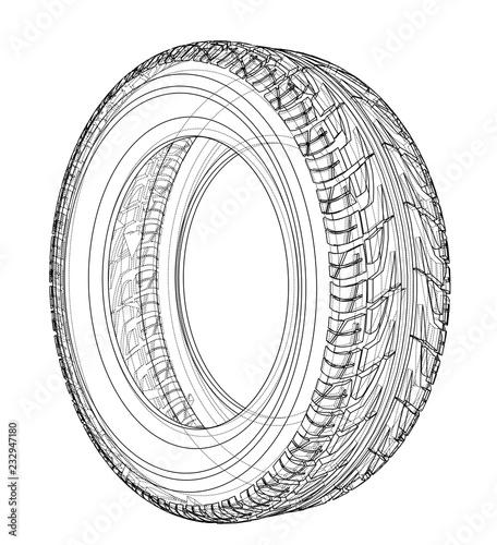 Stampa su Tela Car tire concept. Vector rendering of 3d