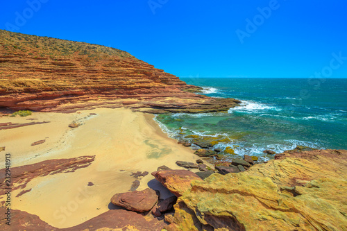 Foto op Aluminium Oceanië Scenic aerial view of Pot Alley Beach in Kalbarri National Park, Western Australia. Rugged Coral coast in turquoise Indian Ocean. Blue sky with copy space.