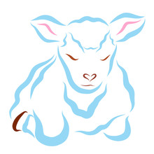 Fluffy Blue Sheep Or Lamb Lying With Eyes Closed