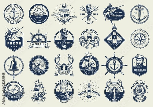 Obraz na plátně Vintage nautical labels collection