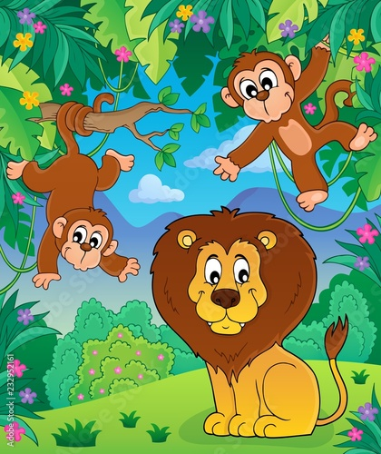 Staande foto Voor kinderen Animals in jungle topic image 7