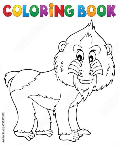 Staande foto Voor kinderen Coloring book mandrill theme 1