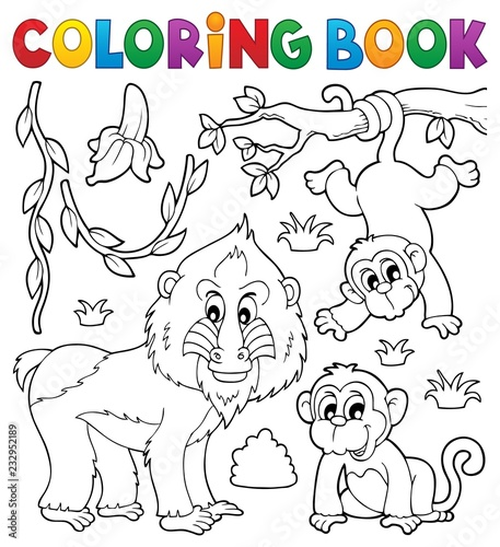 Coloring book monkey theme 4