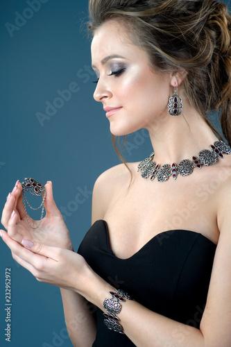 Fotografie, Obraz  Elegant silver accessory on woman