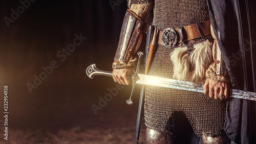 Fotografia, Obraz Knight with the two-handed sword. Medieval concept.