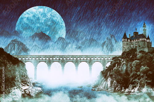 Poster Marron chocolat Fantasy landscape with huge bridge and castle on cliff over big night moon and mountains in fog background